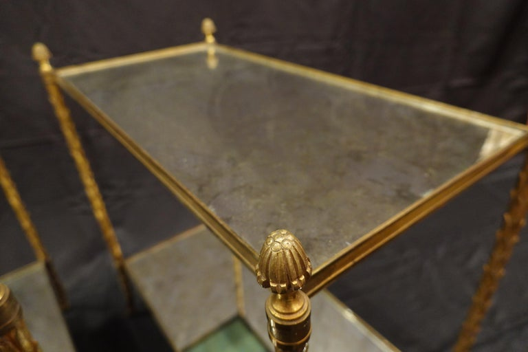 Pair of Bagues Gilt-Bronze Two-Tiered Side Tables with Eglomise Glass Tops For Sale 3