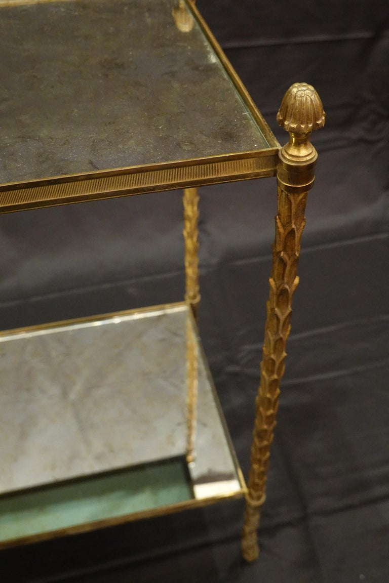 Pair of Bagues Gilt-Bronze Two-Tiered Side Tables with Eglomise Glass Tops For Sale 4