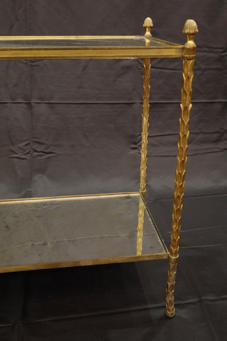 Pair of Bagues Gilt-Bronze Two-Tiered Side Tables with Eglomise Glass Tops For Sale 6