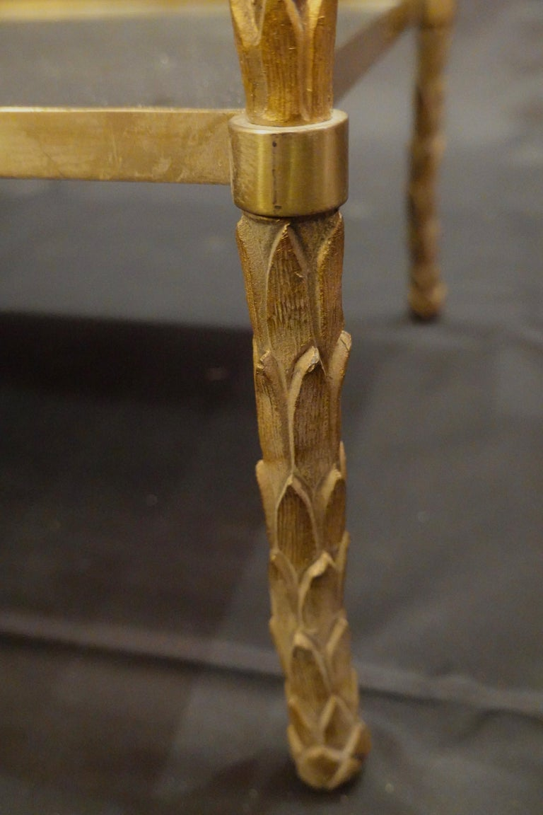Pair of Bagues Gilt-Bronze Two-Tiered Side Tables with Eglomise Glass Tops For Sale 7