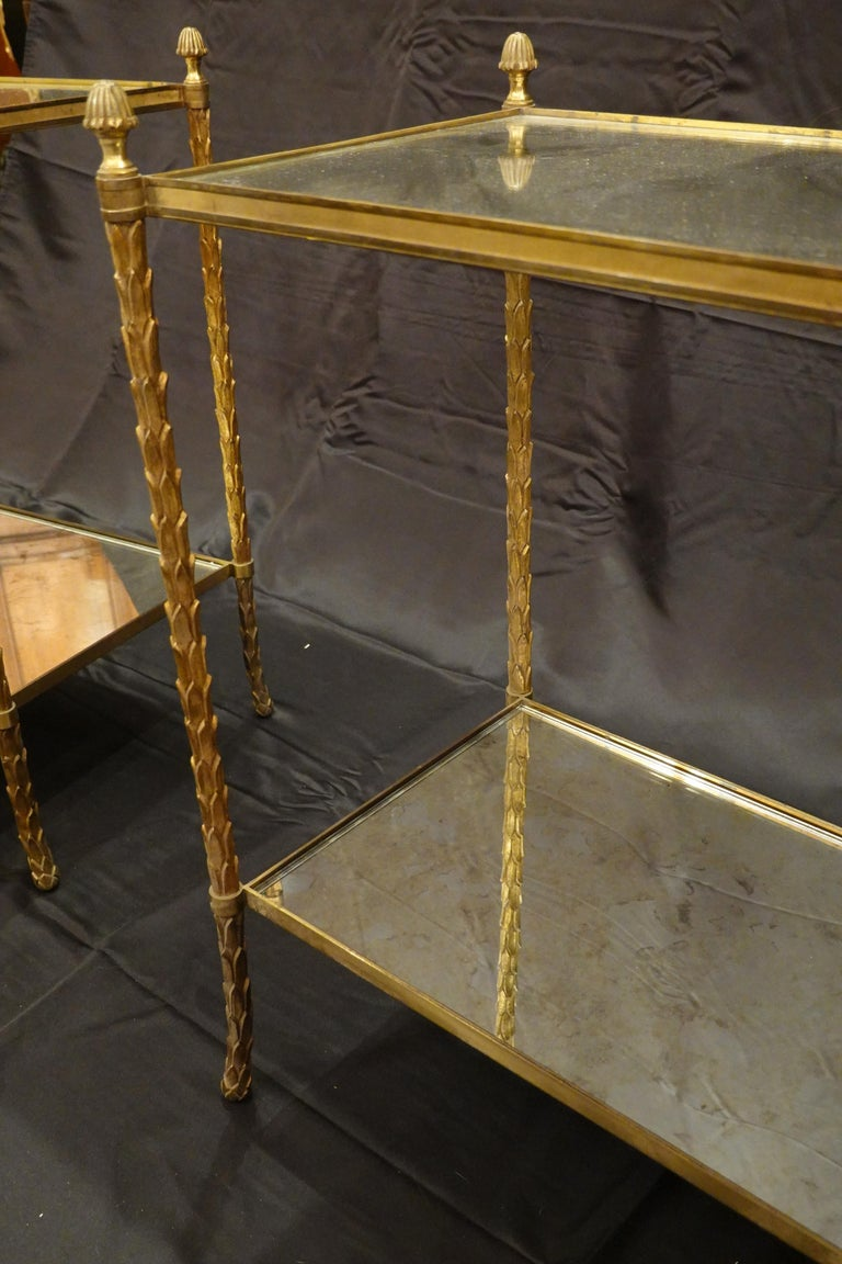 Pair of Bagues Gilt-Bronze Two-Tiered Side Tables with Eglomise Glass Tops For Sale 8