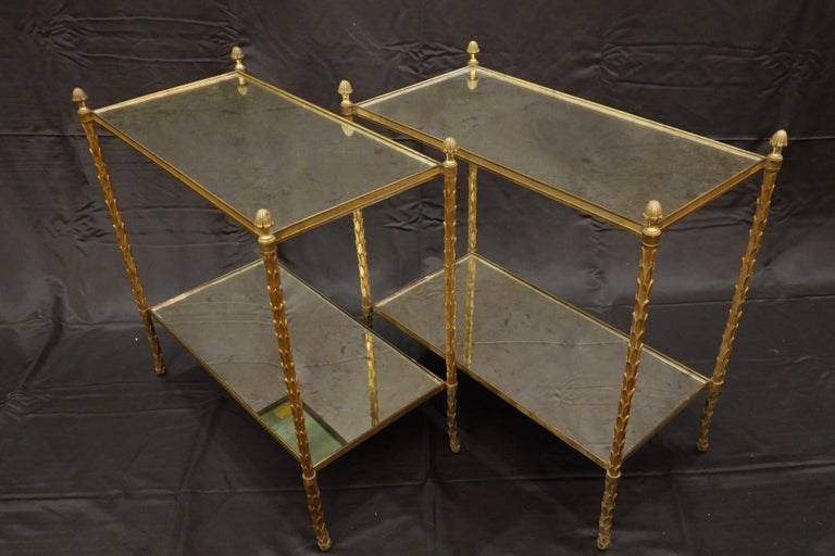Mid-Century Modern Pair of Bagues Gilt-Bronze Two-Tiered Side Tables with Eglomise Glass Tops For Sale