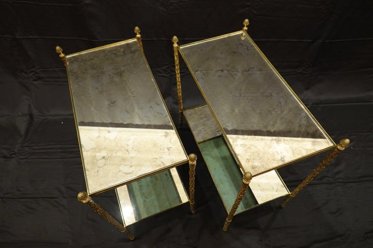 French Pair of Bagues Gilt-Bronze Two-Tiered Side Tables with Eglomise Glass Tops For Sale