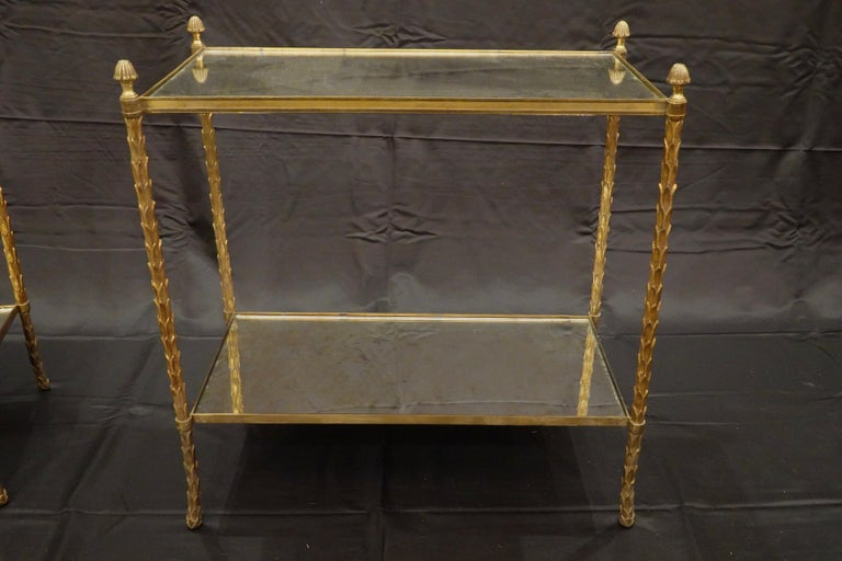 Pair of Bagues Gilt-Bronze Two-Tiered Side Tables with Eglomise Glass Tops In Good Condition For Sale In Charleston, SC