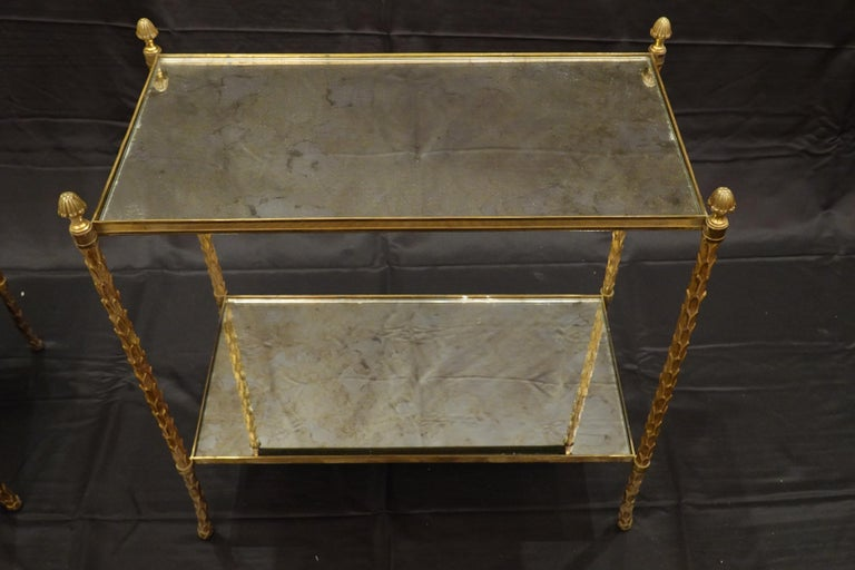 20th Century Pair of Bagues Gilt-Bronze Two-Tiered Side Tables with Eglomise Glass Tops For Sale