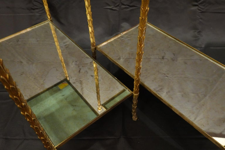 Pair of Bagues Gilt-Bronze Two-Tiered Side Tables with Eglomise Glass Tops For Sale 1