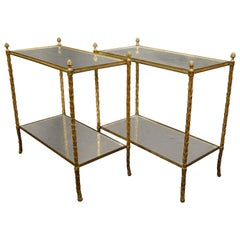 Pair of Bagues Gilt-Bronze Two-Tiered Side Tables with Eglomise Glass Tops