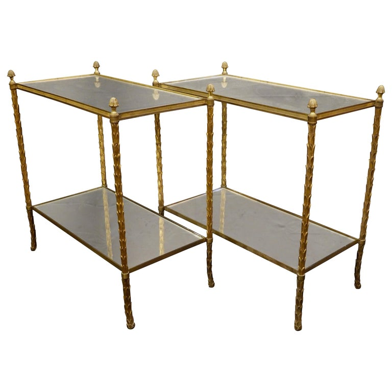 Pair of Bagues Gilt-Bronze Two-Tiered Side Tables with Eglomise Glass Tops For Sale
