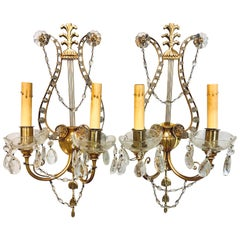 Pair of Bagues Louis XVI Style Lyre Back Crystal and Brass 2 Light Wall Sconces