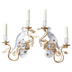 Pair of Baguès Rock Crystal Bird Sconces