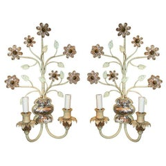 Pair of Bagues Sconces with Crystal Flowers