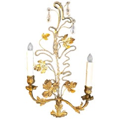 Pair of Baguès-Style Brass and Rock Crystal Sconces