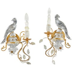 Pair of Baguès Style Crystal Parrot Sconces