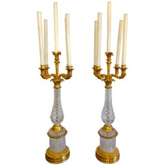 Pair of Baguès Style Cut Crystal and Gilt Brass Table Candelabras or Lamps