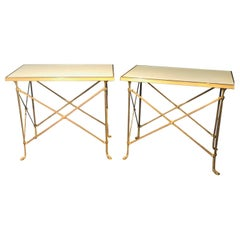 Pair of Baguès Style End or Center Tables, Marble and Glass Top Bronze X Form