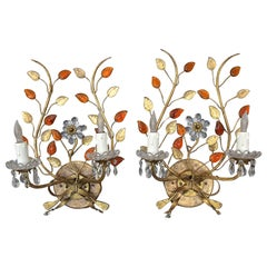 Pair of Baguès Style Floral Gilt Metal Wall Sconces