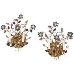 Pair of Baguès Style Floral Gilt Wall Sconces