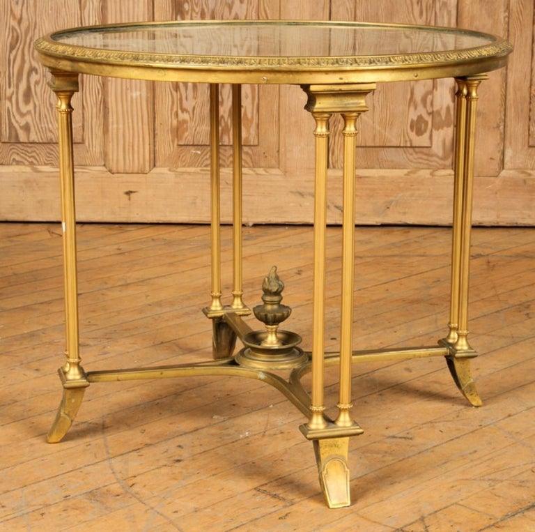 French Pair of Bagues Style Gilt Bronze Neoclassical End Tables or Pedestals For Sale