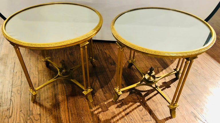 Pair of Bagues Style Gilt Bronze Neoclassical End Tables or Pedestals For Sale 3