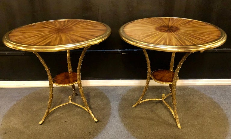 Mid-Century Modern Pair of Baguès Style Gueridon or End Tables with Bronze Flame Rosewood Tops For Sale