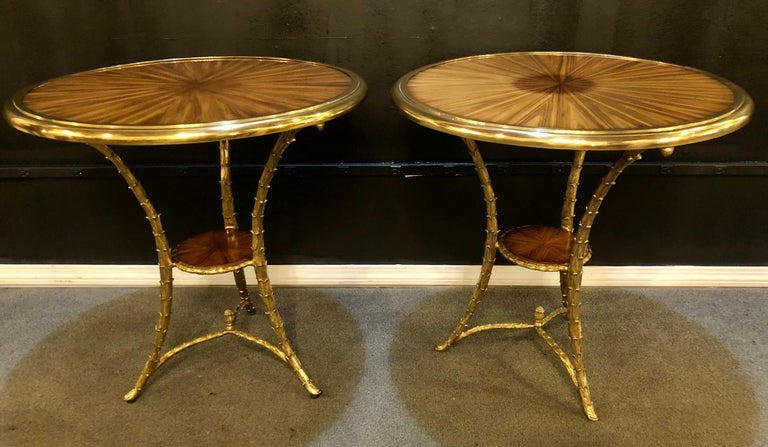 French Pair of Baguès Style Gueridon or End Tables with Bronze Flame Rosewood Tops For Sale