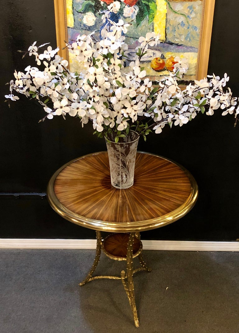 Pair of Baguès Style Gueridon or End Tables with Bronze Flame Rosewood Tops In Good Condition For Sale In Stamford, CT