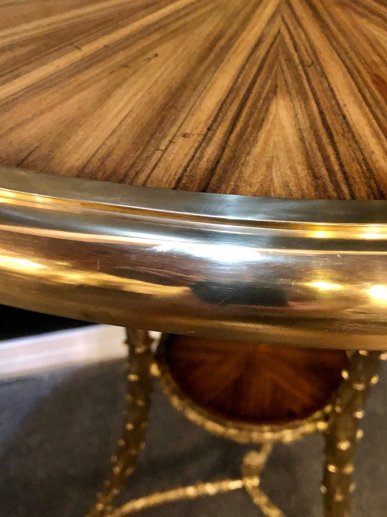 Pair of Baguès Style Gueridon or End Tables with Bronze Flame Rosewood Tops For Sale 2