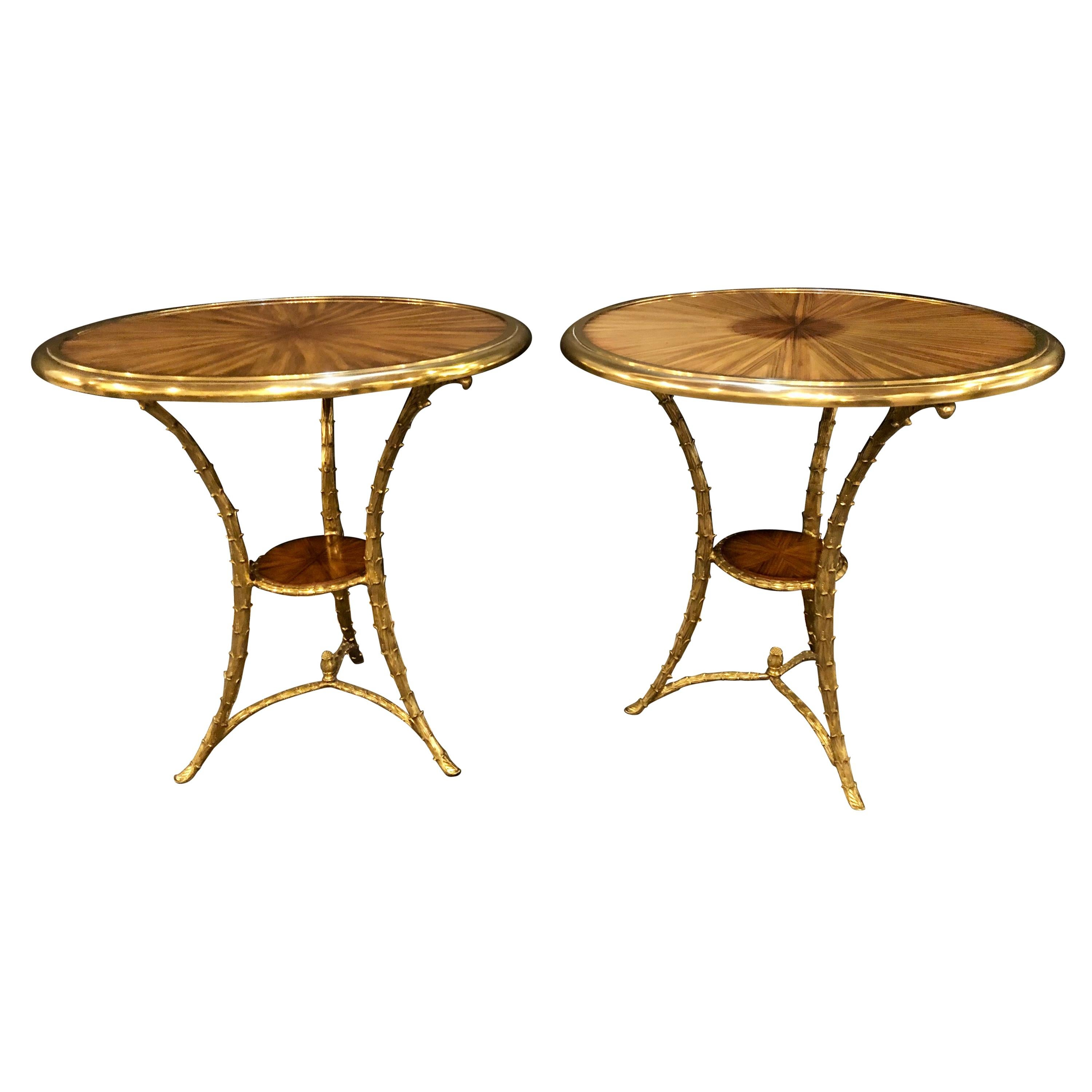 Pair of Baguès Style Gueridon or End Tables with Bronze Flame Rosewood Tops
