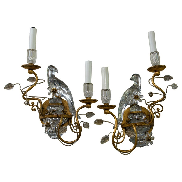 Pair of Bagues Style Parrot 2-Light Sconces For Sale