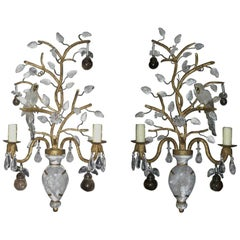 Pair of Baguès Style Rock Crystal Sconces with Birds