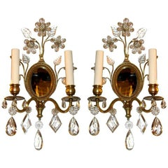 Pair of Bronze Sconces with Mirror Inset