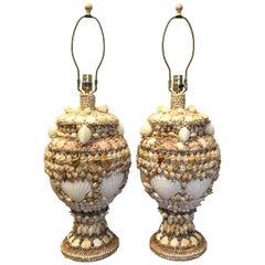Pair of Bahamian Shell Motif Lamps