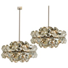 Pair of Bakalowits Diamond Chandeliers, Austria, 1960s