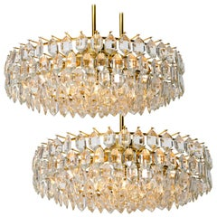 Pair of Bakalowits & Sohne Chandeliers, Brass and Crystal Glass, Austria, 1960s