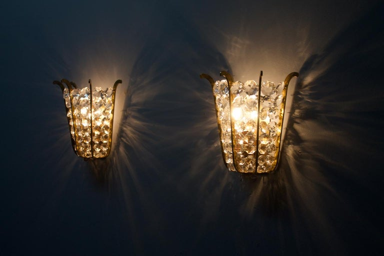 Pair of Bakalowits Wall Lights in Brass and Crystal Glass, Austria, 1950s For Sale 7