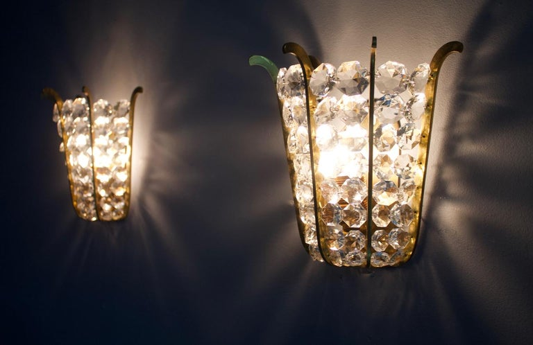 Pair of Bakalowits Wall Lights in Brass and Crystal Glass, Austria, 1950s For Sale 9