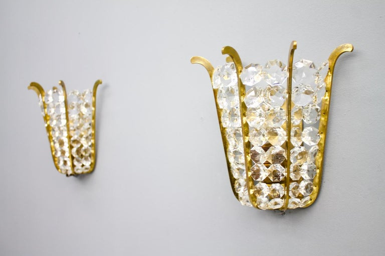 Mid-20th Century Pair of Bakalowits Wall Lights in Brass and Crystal Glass, Austria, 1950s For Sale