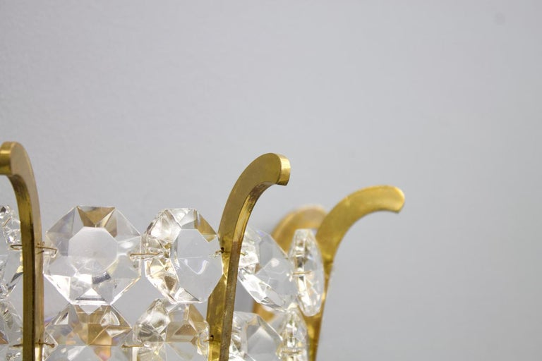 Pair of Bakalowits Wall Lights in Brass and Crystal Glass, Austria, 1950s For Sale 2