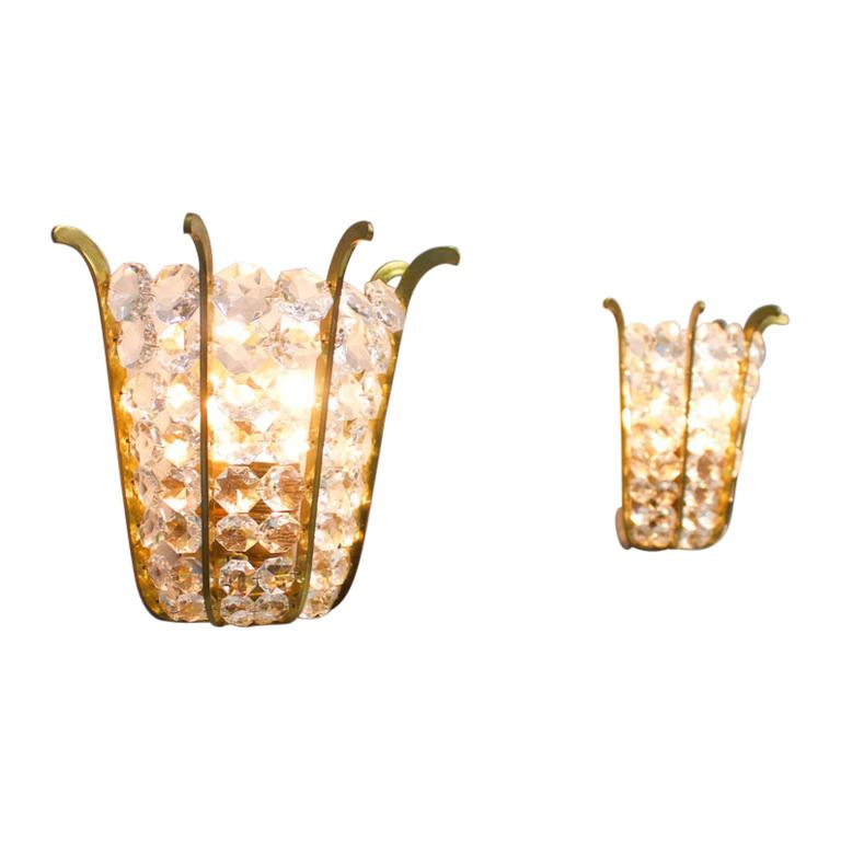 Pair of Bakalowits Wall Lights in Brass and Crystal Glass, Austria, 1950s For Sale