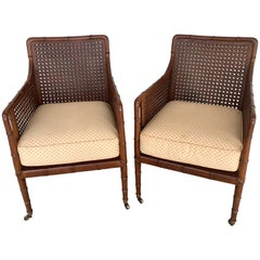 Pair of Baker Campaign Style Chairs, with Faux Bamboo Detail