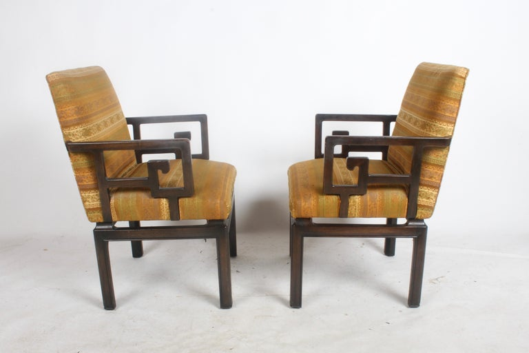 I have two pairs of Greek Key chairs designed by Windsor White for the Baker Far East Collection, c.1960s. Only two are shown in original dark espresso finish and upholstery (should be refinished), the other two are in original black lacquer with