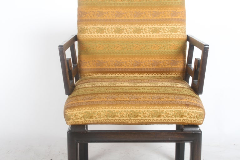 Mid-Century Modern Pair of Baker Far East Greek Key Dining or Occasional Chairs For Sale