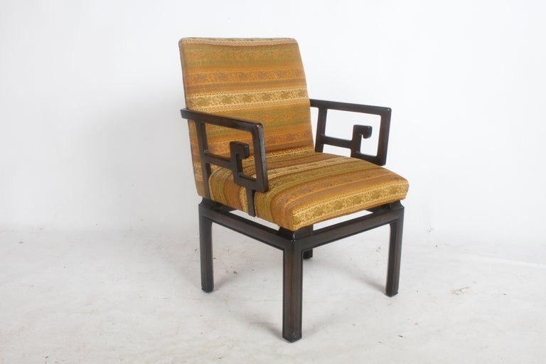 Stained Pair of Baker Far East Greek Key Dining or Occasional Chairs For Sale