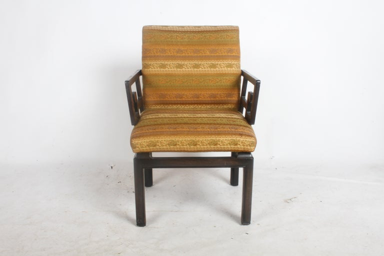Upholstery Pair of Baker Far East Greek Key Dining or Occasional Chairs For Sale