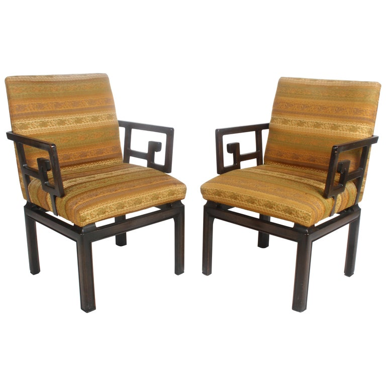 Pair of Baker Far East Greek Key Dining or Occasional Chairs For Sale