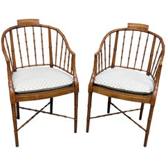 Pair of Baker French Faux Bamboo Style Parlor Club Chairs