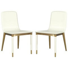 Pair of Baker Folio Side Chairs in White Leather