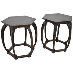 Pair of Baker Furniture Asian Style Hexagon Stands