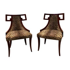 Pair of Baker Greek Key Chairs Newly Upholstered in Ralph Lauren Leopard Fabric