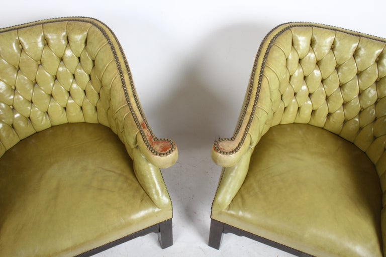 Pair of Baker Mid-Century Leather Tufted Lounge Chairs For Sale 4